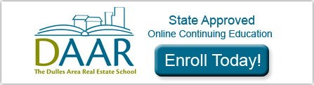 Enrol today in State Approved Online Continuing Education from Dulles area association of realtors.