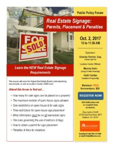 Know the Rules: Real Estate Signs – Permits, Placement & Penalties – Monday, 10/2 Post Thumbnail