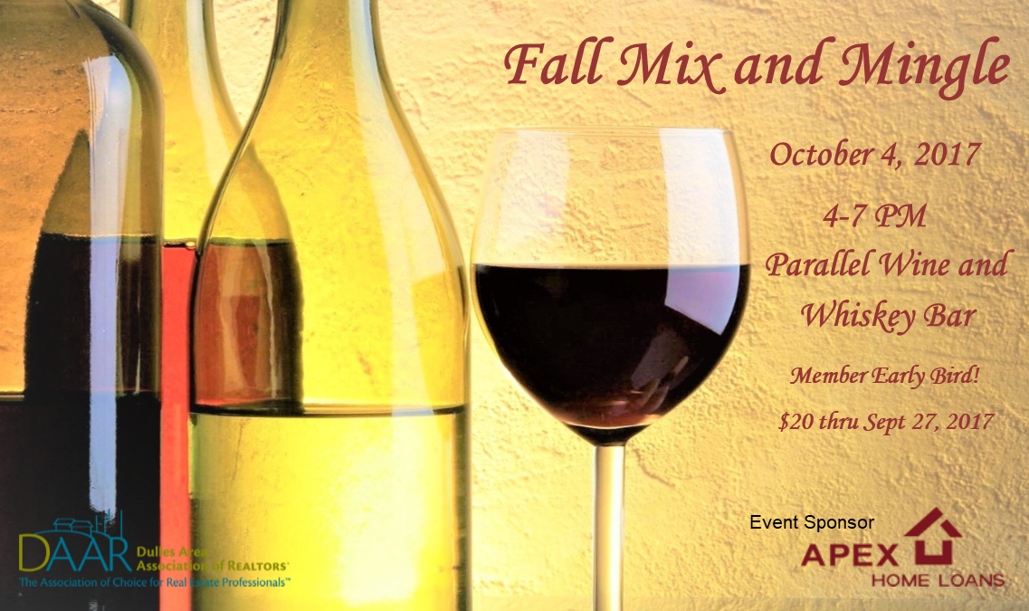 Join us!  2017 Fall Mix and Mingle-Wednesday, 10/4, 4-7PM Post Thumbnail